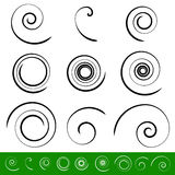 Spirala, vortex elementu set 9 różnych kółkowych kształtów spirala royalty ilustracja