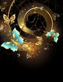 Spirala z złocistymi motylami Zdjęcia Royalty Free