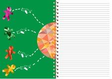 spiralanteckningsbok med fodrat, barndagkort Royaltyfri Foto