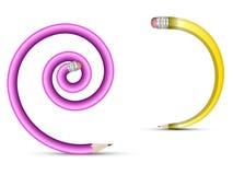 Spiralblyertspennor royaltyfri illustrationer