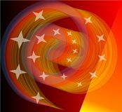 Spirale arancio vivo di mescolamento con le piccole stelle L'elemento all'avanguardia coraggioso di progettazione corrisponde ben Fotografia Stock Libera da Diritti