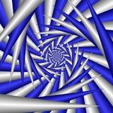 Spirale astratta in blu ed argento Fotografia Stock