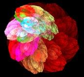 Spirale colorée de fractale abstraite sur le fond noir Images stock