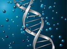 Spirale d'argento del DNA Immagini Stock Libere da Diritti