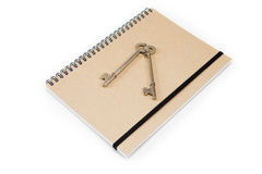 Spirale de Brown - cahier attaché Photos stock