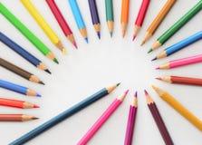 Spirale de Fibonacci avec des crayons Photographie stock libre de droits