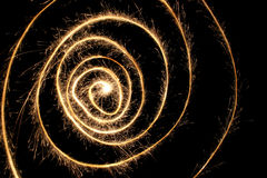 Spirale dello Sparkler fotografia stock libera da diritti