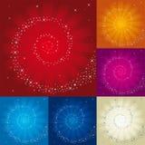 Spirale des étoiles au-dessus du fond différent de foudre de couleurs illustration libre de droits