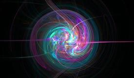 Spirale di frattale tessuta dai getti sottili, stelle e Immagine Stock
