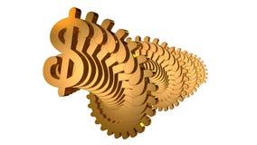 Spirale dorata del dollaro immagine stock
