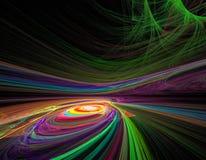 Spirale e torsione di caos di frattale colorate arcobaleno nello spac illustrazione vettoriale