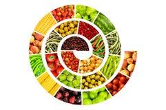 Spirale fatta delle frutta e delle verdure Fotografia Stock Libera da Diritti