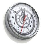 Spirale infinie de temps dans l'horloge murale Photos libres de droits