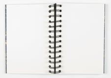 spirale ouverte de sketchbook de centre Photographie stock libre de droits