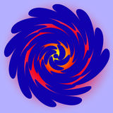 Spirale rotonda blu su fondo blu-chiaro Grandi colpi spessi Il rosso splende tramite le ali Fotografia Stock Libera da Diritti