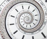 Spirale surreale di orologio dell'orologio di frattale bianco moderno futuristico dell'estratto Guardi il contesto astratto insol immagine stock