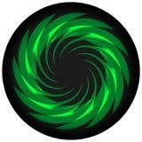 Spirale verde sull'icona nera del cerchio Illustrazione Vettoriale