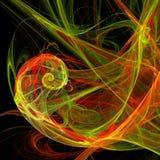 Spiralen för gräsplan- och rött ljusblandningsvindel buktar digital konst för futuristisk fractal royaltyfri illustrationer