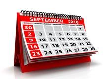 Spiralen-Kalender September-2018 im weißen Hintergrund 3d übertragen lizenzfreie abbildung