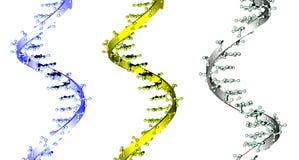 Spirales bleues, jaunes et vertes d'ADN Photo libre de droits