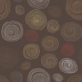 Spirali di legno stilizzate, modello senza cuciture disegnato a mano per interior design, carte da parati e piastrelle di ceramic illustrazione vettoriale