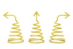 Spirali dorate con differenti frecce di direzione su bianco Immagine Stock