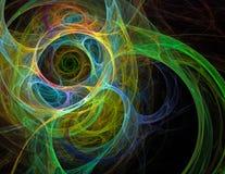 Spirali ed onde di caos di frattale nei toni verdi su un bl illustrazione di stock