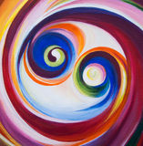 Spiraling circle. Two multicolored spirals on canvas stock images