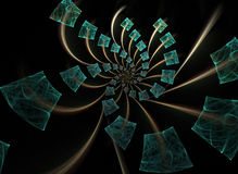Spiraling Fractal of Cubes. A fractal created using apophysis7x Stock Photography