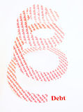 Spiraling government debt ?. A spiral covered in the word debt rising vertically from bold red letters spelling debt. The image is shown isolated on a plain royalty free stock photos