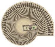 Spiraling inflation. $20 bills stock photos