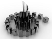 Spiraling Inwards. Shiny cubes spiraling and scaling inwards Royalty Free Stock Images