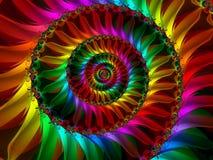 Spiraling Rainbow Petals. Colourful Spiraling Rainbow Petals Fractal Image Royalty Free Stock Photos