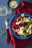 Spiralized beet and cucumber salad with avocado dressing, health Royalty Free Stock Photography