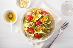 Spiralized courgette salad with sweetcorn tomato avocado, health Royalty Free Stock Photography