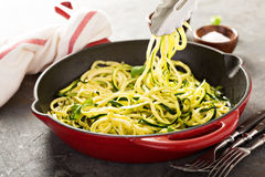 Spiralized zucchini noodles in a cast iron pan Stock Photography