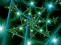 Teal Flower Fractal Texture. Spiralling Abstract Teal Flowers Digital Background Stock Illustration