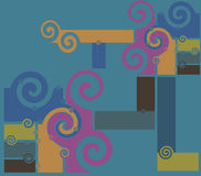 Spirals. Spiral abstract retro old fashion illustration metal colors Stock Photo