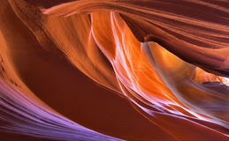 Spirals. Walls of improbably beautiful canyon Antelope in the USA at midday royalty free stock image