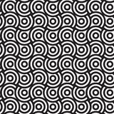 Spirals And Circles, Black And White Vector Seamless Pattern. Stock Images