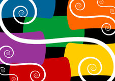 Spirals on colorful background. White spirals over some colorful tiles background Royalty Free Illustration