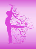 Spirals dancer silhouette. Vector silhouette of a dancer with spirals and swirls in cerise on a pink background for greeting cards, postcards or labels and more Stock Photos