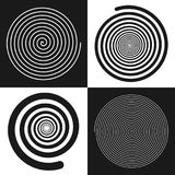 Spirals set: uniform and decreases towards the center. Vector illustrations. Black and white  geometric figures. Symbol of recurrence and cyclicity of progress Royalty Free Stock Image