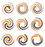 Spirals and swirls. Set of spiral and swirls logo design elements, icons, symbols and signs stock illustration