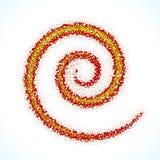 Spiralt tecken för vektor som göras av spridda bollar Arkivbilder