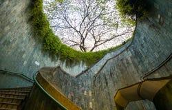 Spiraltrappuppgången av tunnelbanan på på burk för fort parkerar, Singapore royaltyfri fotografi