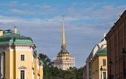 Spire of Admiralty building in Saint-Petersburg Royalty Free Stock Photo