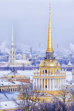 Spire of the Admiralty in St. Petersburg, Russia.  Stock Photos