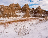 Spire in the Badlands in Winter Royalty Free Stock Images