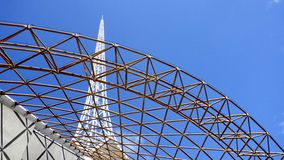Spire Behind Framework. Stock Photo